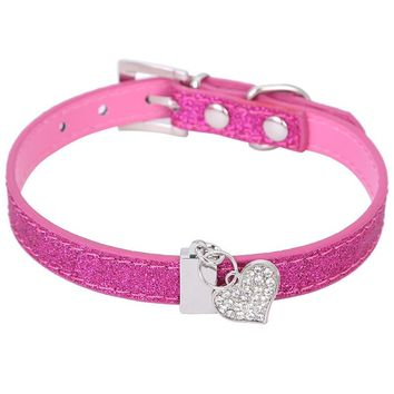 Glitter Pu Leather Dog Collar For Puppy Small Dog With Bling Heart-Shaped Diamond Pendant Size XS S 4 Colors Free Shipping