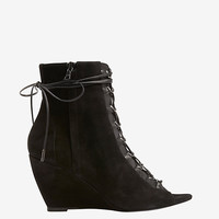 Narciso Rodriguez Lace-Up Peep Toe Suede Bootie | Shop IntermixOnline.com