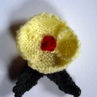 OOAK hand knitted flower brooch pin. Yellow poppy