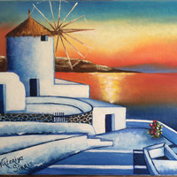 Santorini Island Greece original Meditiranian oil painting hand painted stretch canvas seascape painting memorable wedding gift home deco