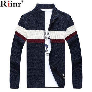 New Men Sweater Casual Style Stand Collar Cotton Material Thin Wool Warm Thick Autumn Winter Cardigan  Knit cardigan