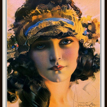 "Flapper with Gypsy Headband ""Betty"" PINUP GIRL by Rolf Armstrong circa 1920 Giclee Fine Art Print"