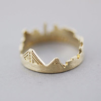 Arrow ring with Rhinestone in gold / silver- Adjustable Ring