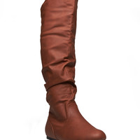 Tall Slouchy Faux Leather Boots - Wide Width   Wet Seal