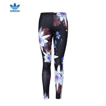 """Adidas"" Women Sports Casual Stripe Lotus Print Tight Yoga Leggings Pants Trousers Sweatpants"