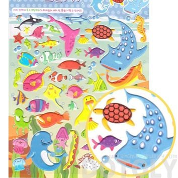 Super Big Sea Creatures Themed Shark Dolphin Walrus Fish Shaped Puffy Stickers for Scrapbooking