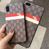 Gucci red and white striped relief iphone case for iphone 6/7/8/6plus/7plus/8plus/X