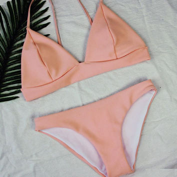 New Sexy Women Pink Knitting Triangle Padded Bra Beach Halter Bikini 2017 Bandage Micro Bikini Set Push Up Swimwear JUN8