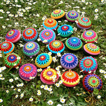 Crochet Mandala Coin Purse - Pink, Green, Red, Turquoise And Orange, Blue Button, Black Base