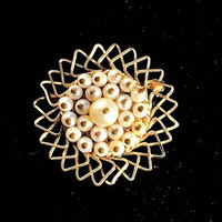 Vintage Gold & Pearl Brooch, 12K Gold and Pearl Flower Brooch, Pearl Cluster Pin, Art Deco Brooch.