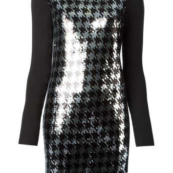 Michael Kors houndstooth sequins embroidered dress