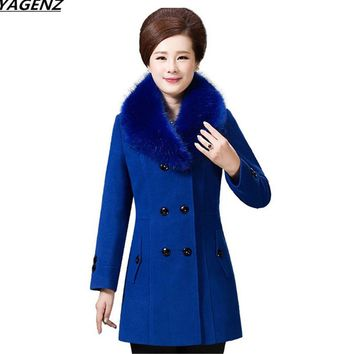 YAGENZ Middle-aged Wool Coat Fashion Fur Collar Autumn Winter Women Jacket Mother Costume Plus Size 5XL Woolen Coat Female K468