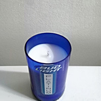 Bud Light Platinum Beer Bottle Cobalt Blue Glass 100% Natural Soy Candle