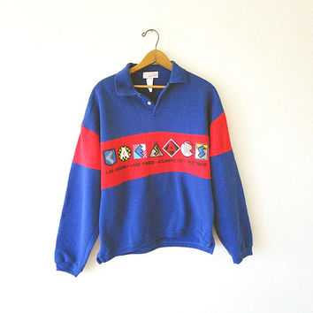 Vintage CAESARS PALACE Striped Collared COLORBLOCK Hotel Souvenir Las Vegas, Lake Tahoe, Atlantic City, Poconos Sweatshirt Sz M