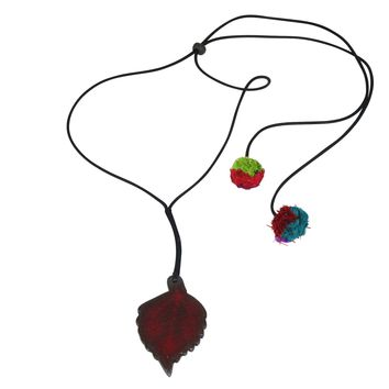 Handmade; Serrated Large Leaf; Nerikomi Necklace; BURGUNDY