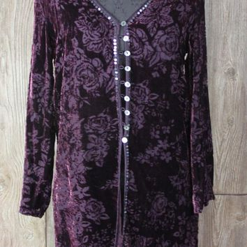 Cute Monsoon Brand S size Shirt Jacket Duster Purple Velvet Floral Burnout Art Wear