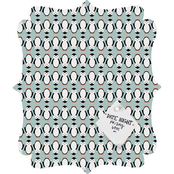 Allyson Johnson Penguin Pattern Quatrefoil Magnet Board