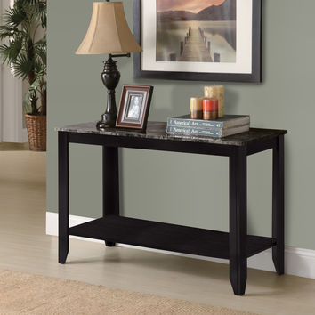 Console Table - Black - Grey Marble-Look Top