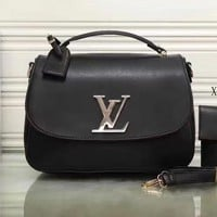 LV Women Shopping Golden sign Leather Crossbody Satchel Shoulder Bag