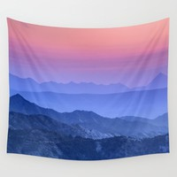 """Mountain dreams"". At sunset. Wall Tapestry by Guido Montañés"