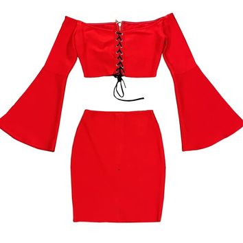 Make The Most Red Long Flare Sleeve Off The Shoulder Lace Up Crop Top Two Piece Bodycon Bandage Mini Dress