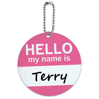 Terry Hello My Name Is Round ID Card Luggage Tag