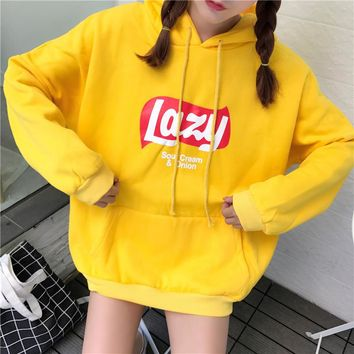 Kpop home New Fashion harajuku style lazy offbeat around Blouse sweatshirt woman's warm hoodie cool