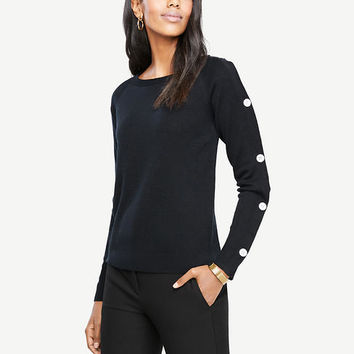 Button Sleeve Sweater | Ann Taylor