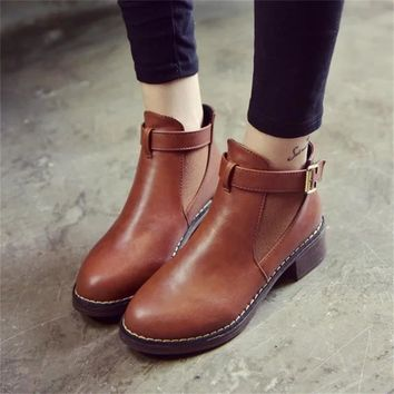 Women Ankle  Buckle Strap Comfy Boots