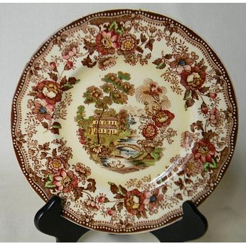 "Vintage Brown Polychrome Transferware Toile 8"" Salad Plate Tonquin Cottage Swans and Roses"