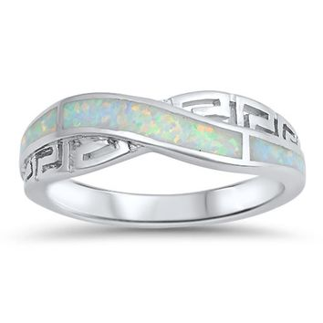 Simulated White or Blue Opal Rhodium Plated Sterling Silver Criss Cross Infinity Wedding Band