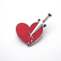 Dagger to My Heart (Red) Enamel Pin