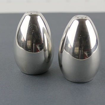 International Silver Plated Salt and Pepper Shakes Mid Century Modern