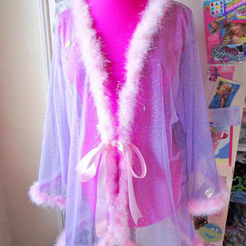 Sheer robe, fairy kei bridal lingerie bridal babydoll lavender silver dot iridescent marabou feather boa drag queen clothing free size 2X