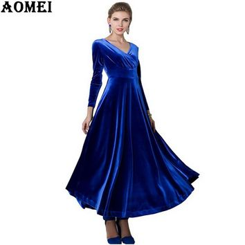 Women Wine Fits Flared Dresses Velvet Warm Dress Dresses Winter Ankle Length Maxi Casual