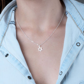 Star Of David Necklace, Tiny Star Of David Charm Necklace, Gold Necklace, Silver Necklace, Jewish Jewelry, Magen David Necklace, Dainty
