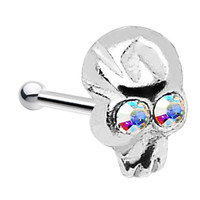Sterling Silver Aurora Skull Nose Bone Created with Swarovski Crystals | Body Candy Body Jewelry