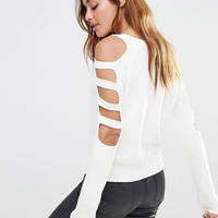 Noisy May Knit Jumper with Cut Out Sleeves at asos.com