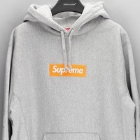 Supreme Trending Unisex Personality Women Logo Print Casual Hoodie Long Sleeve Sweater(8-Color) Grey I-CN-CFPFGYS