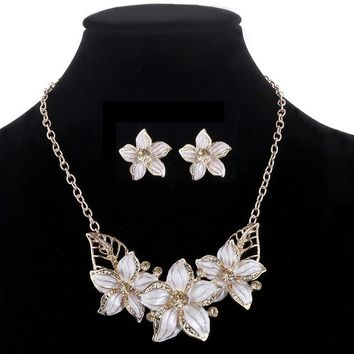 ZOSHI Fashion Zinc Alloy Austrian Crystal Enamel Flower Jewelry Sets Women African Costume Jewelry Maxi Necklace Earring Set