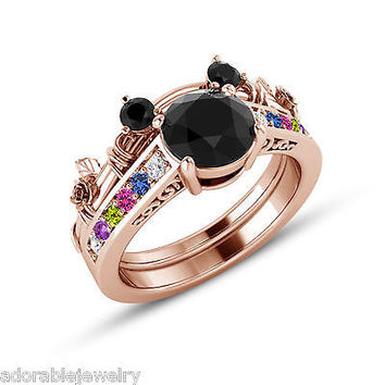 Rose Gold On 925 Sterling Multicolor Stone Mickey Mouse Wedding Bridal Ring Set