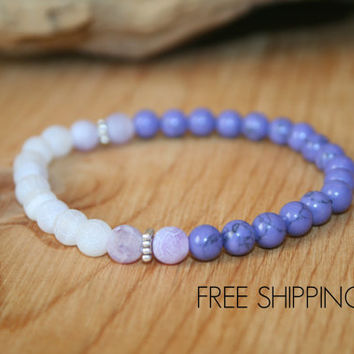 Purple Bracelet, Dragon Veins, Agate Bracelet, Turquoise Bracelet, Gift for Her, Woman Bracelet, Yoga Jewelry, Healing Jewelry, Prayer Beads