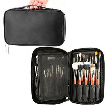 Travelmall Professional Cosmetic Makeup Brush organizer Makeup Artist case with Belt Strap Holder Multifunctional Cosmetic Makeup Bag Handbag for Travel & Home (Black)