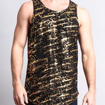 Metallic Paint Long Length Curved Hem Tank Top TT54 - R8D