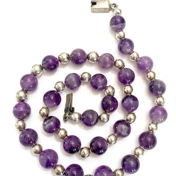 Taxco Amethyst & Sterling Beaded Necklace, Natural Amethyst 10mm Beads, Sterling Silver 6mm Beads, Vintage Gemstone Necklace, Hallmarked