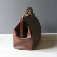 French Antique Brown Leather Doctor Bag ,with  its original key .