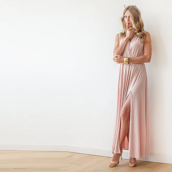Blush wrap maxi gown, Dress with wide skirt , Pink sleeveless gown
