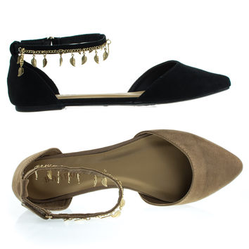 Sequel94M By Bamboo, Gold Chain & Leaf Flats, D'Orsay Double Open Shank Almond Toe Pump