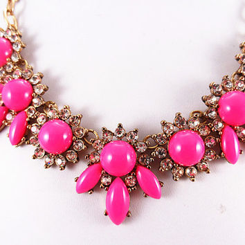 Hot Pink Flower Necklace ,Statement bubble daisy Necklace,Bridesmaids Jewelries,Birthday gift 3colors available