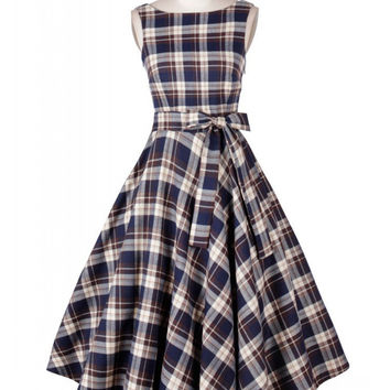 Blue Plaid Sleeveless Bow Belted Tent Mini Dress